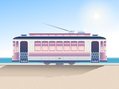 Summer Memories transport urban porto portugal turism tram travel summer sun beach car landscape color illustrator simple icon flat illustration vector design
