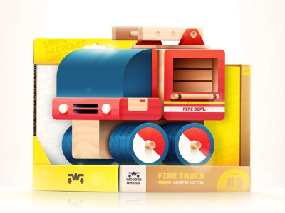 Toys - Fire Truck eco travel wood recycled packaging truck firetruck toy car dribbbleweeklywarmup logo kids typography branding cute character icon simple design illustration