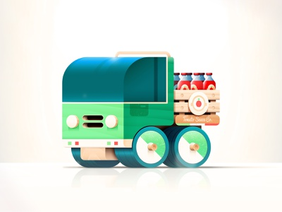 Toys - Delivery Truck christmas icon bottle vector tomato illustration green wood ketchup brand travel delivery packaging pizza sauce italy toy car truck