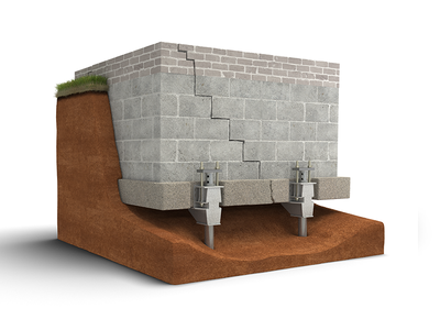 3d Cross-Section -- Helical Pier Solution lift pier cross-section ground 3d stabilize concrete foundation