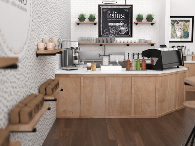Felius Cat Cafe Entrance architecture non-profit coffee animation cats cafe 3d