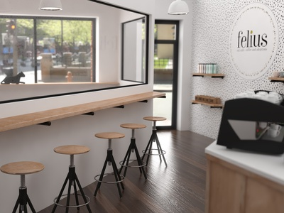 Felius Cat Cafe Seating architecture seating 3d cafe cats animation coffee non-profit