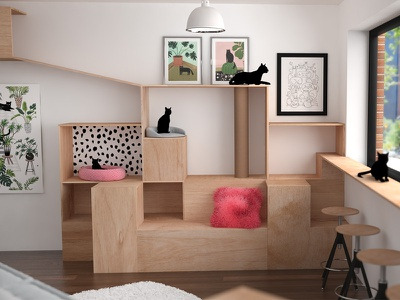 Felius Cat Cafe Cat Area architecture 3d cafe cats animation coffee non-profit
