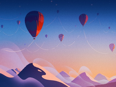 Stay Connected retro personal work digital illustration inspiration nature mountains ballons minimalism landscape stayhome artwork personal digital art drawing illustration