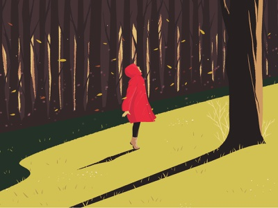 Enjoy the Weather Outside personal project inspiration painting trees landscape mood minimalist design park girl nature personal character digital art drawing illustration