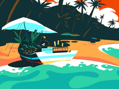 Fruit Lady sea thailand beach landscape character digital painting minimalism personal design digital art drawing artwork illustration