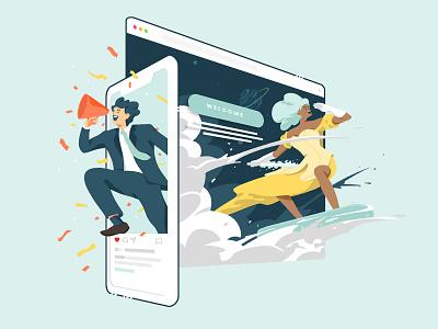 Let's spread your story, together digital graphic design art direction advertisement ui  ux web marketing storytelling vector branding character digital art artwork illustration