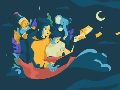 Bed Time Story inspiration flat design bedtime story night vector marketing graphic design character design digital art drawing artwork illustration