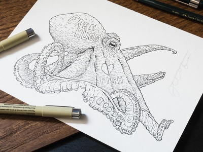 Free Hugs study animal octopus pen and ink artwork drawing illustration