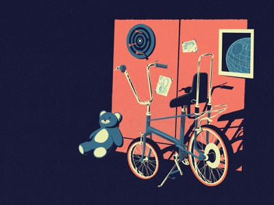 The Old Room texture graphic bicycle toys comic vintage retro personal design digital art digital artwork illustration