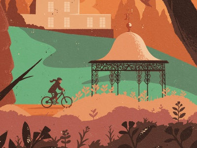 P Magazin (Darmstadt) – Cover Illustration Detail magazine cover work autumn bicycle graphic design commission park garden editorial illustration digital art drawing artwork illustration