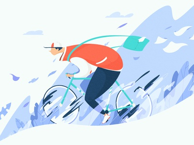 Winter Ride minimalist clean procreate design digital ride nature plants bycicle winter character digital art artwork drawing illustration