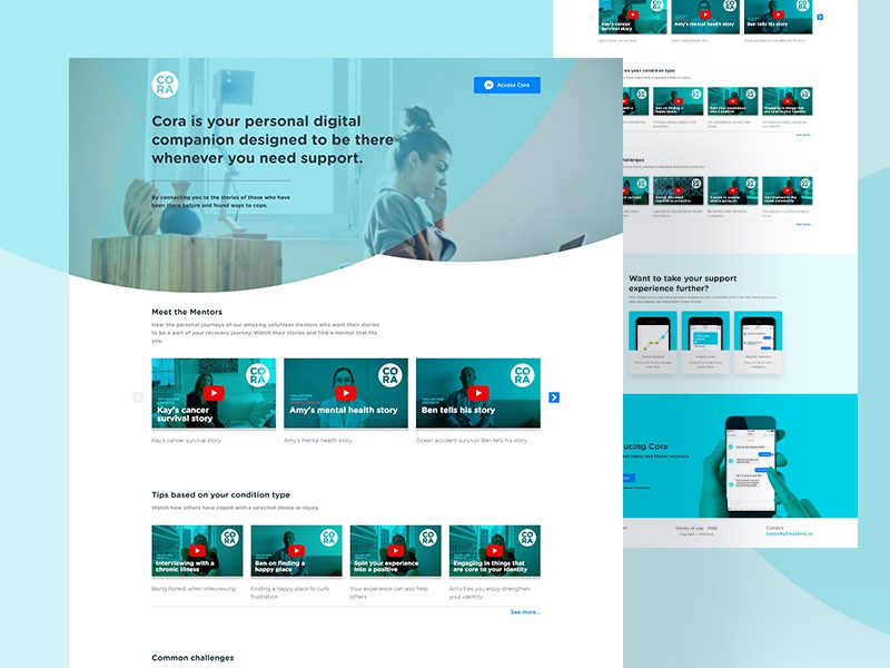 Cora Homepage injuries illnesses insurance mobile tiles videos health chatbot ui landing page homepage web design product design sketch