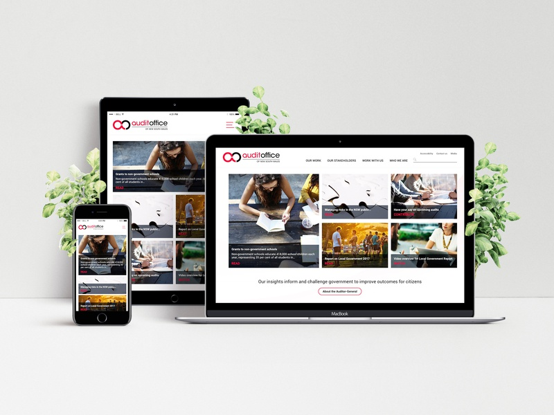 Audit Office NSW mockup report audit ui landing page homepage web design product design sketch ux interactive responsive redesign nsw australia government