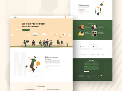 Corporate Business Website Template branding vector minimal typography illustration design website concept art colorful design business website corporate template homepage