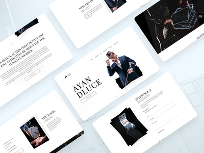 Personal Website for Magician card magic hat identitydesign templatedesign app logo creative magazine web ui personal website minimal design website art black  white clean homepage circus magician