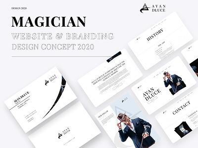 Personal Website & Branding For Magician landing template design flyer design business card design branding black and white minimal creative design typography website magician homepage