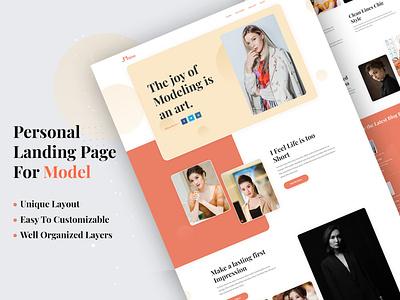 Personal Portfolio(For Model) personal portfolio model template company branding minimal landing illustration creative design ux clean typography website homepage