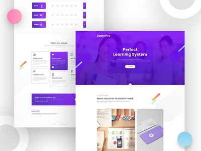 LearnPro Website Template homepage clean website trends new website 2018 education landing page ux design ui design online course minimal education awesome courses