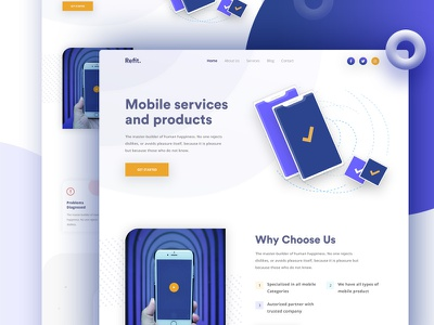 Mobile Service Landing Page website new website 2019 branding company illustration app minimal gradient color creative landing products mobile services best landing page best design 2019 mobile landing page design typography homepage clean