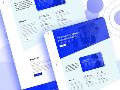 Business Service Landing Page solution provide corporate solution profile best services blue uiux homepage design template business company branding company profile landing website typography homepage