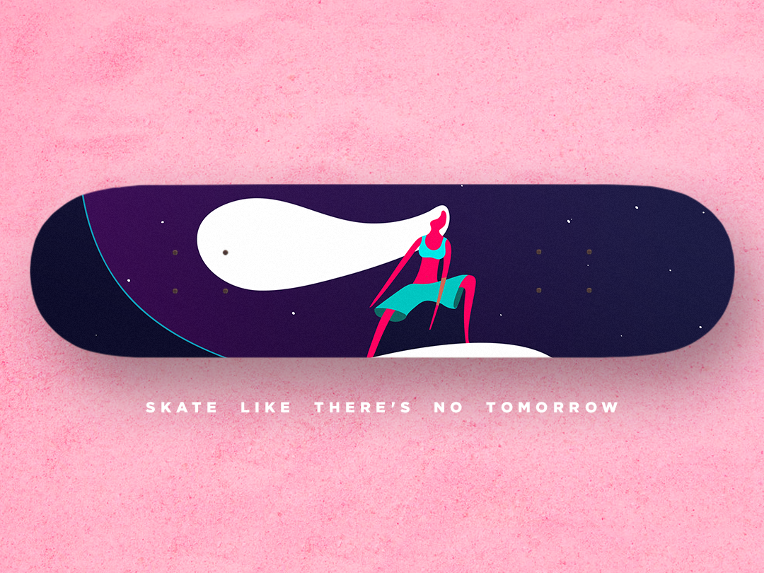Skateboard like there's no tomorrow beach pink girl color design surf illustration