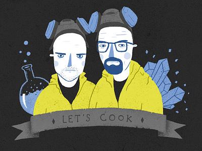 Let's cook tv show illustration fan art blue meth jesse pinkman walter white breaking bad