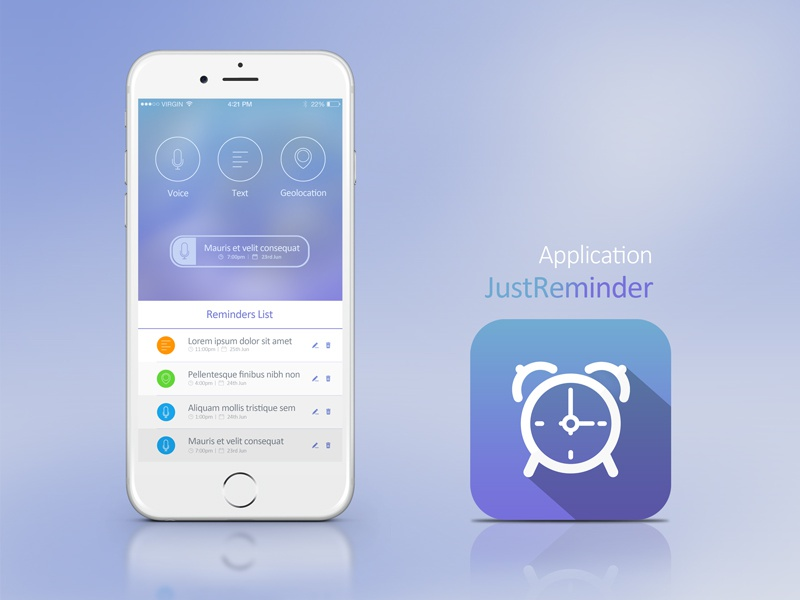 Reminder IOS app screen iphone ios application design app