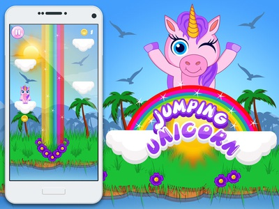 Jumping Unicorn game colorful android ui game art app