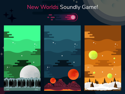 New Worlds - Soundly Game flatdesign gamedesign uidesign game illustration illustrator design ui flat art android