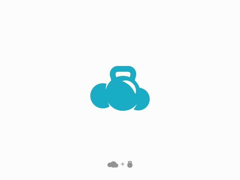 Logo design - gym weather graphic design flat design flat design vector logo kettlebell weather gym cloud
