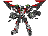 TZ7 mecha design, wings unfolded