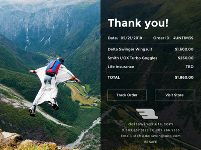 Let's Fly daily ui email receipt sketch wingsuit receipt