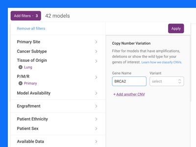 A filter menu for oncology researchers prototype science menu filter
