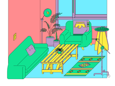 A corner of my house room room tone isometric vector illustration