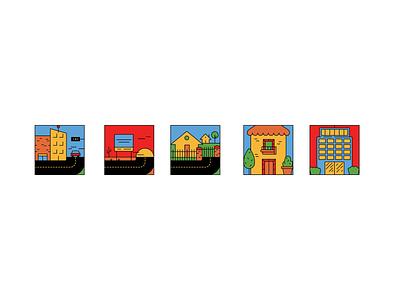 La ciudad, la carretera, la colonia, la casa y el edificio. building community road city icons set icons