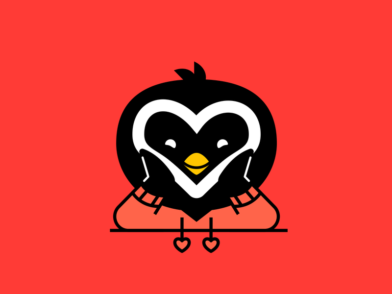 Valentine's Day kawaii cute heart valentinesday love icon character illustration vector penguin day valentine