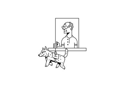 #stayathome animation pet oldman window quarantine dog character illustration