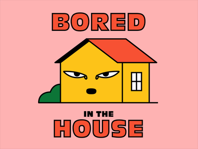Bored in the house design quarantine home tired yawn character house bored animation illustration