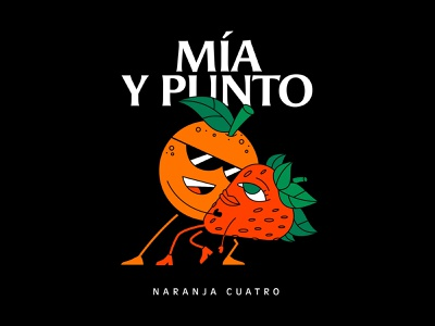 Mía y punto dance couple fruits spotify music vector character illustration cover design cover art strawberry orange
