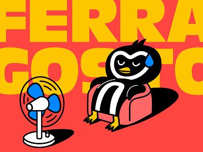 Ferragosto in Italy kawaii rest milan italy festival holiday worker sun melted couch vector design character summertime illustration fan hot penguin summer ferragosto