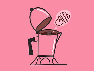 Moka coffeeshop object desing italy italian hot procreate illustration pink moka caffè coffee