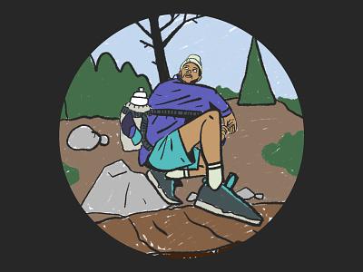 Trekking procreate wip man explore travel sport nature hiking trekking outdoor mountain design character illustration