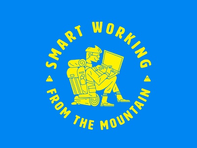 From the mountain firewood desk office sit log character illustration trunk wood mountain laptop remote working smart