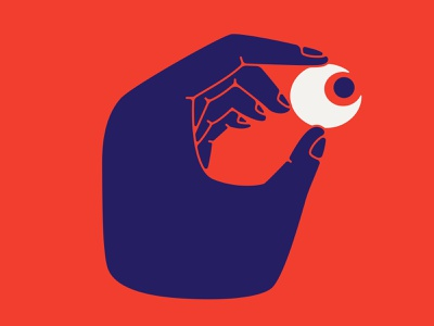 Keep an eye out red color hold hand attention look eye vector design character illustration