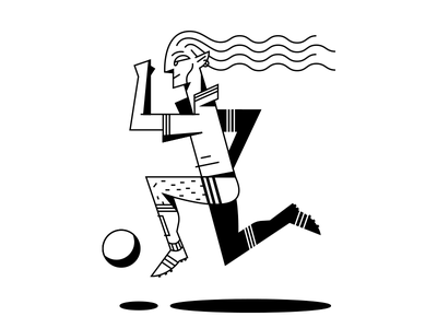 Player shadow long hair run soccer player black lineart line graphic illustration