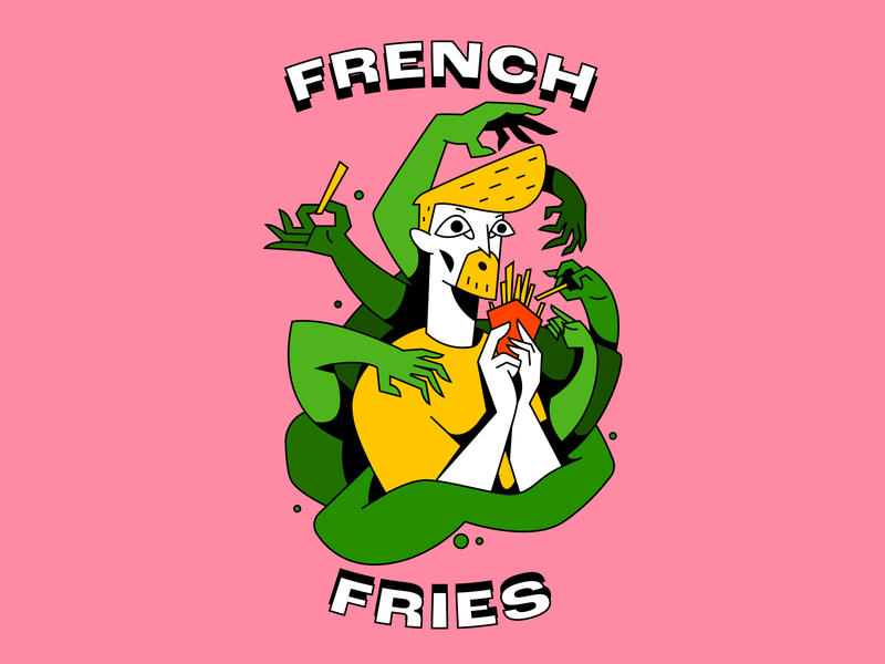French fries ghost arms hands pink man food french fries fries character person design illustration