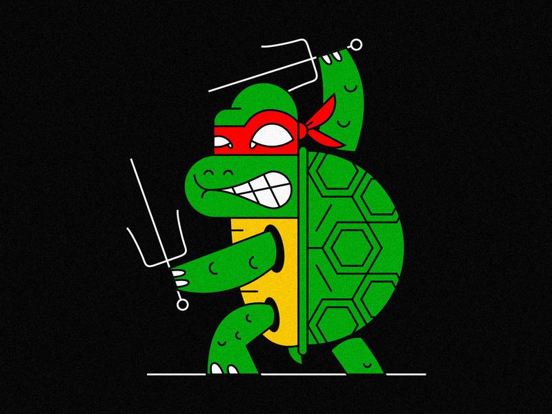 Raphael vector design character illustration turtle ninja mutant turtles tmnt