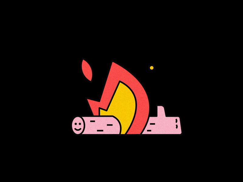 Like fire log vector illustration warmup warm arm like log fire