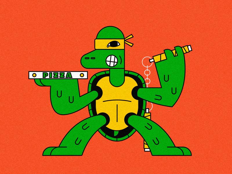 Teenage Mutant Ninja Turtle (Michelangelo) michelangelo mutant ninja pizza turtle lines illustration icon design character animal